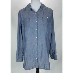 LL Bean Button Front Shirt Women's L Casual Blouse